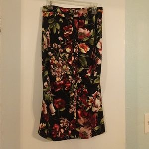 UO Floral rouged skirt